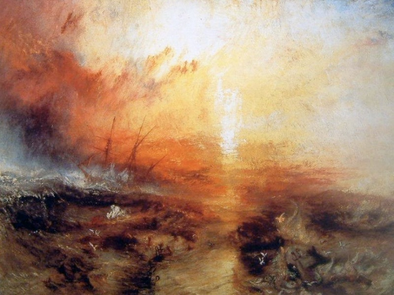 "JMW Turner (English, 1775-1851), Slave Ship (Slavers Throwing Over the Dead and Dying, Typhoon Coming On), oil on canvas, 35 3/4 x 48 1/4"", On view at the Museum of Fine Arts, Boston"